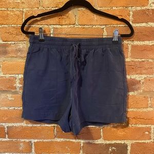 Kenneth Cole Navy Blue Suede Drawstring Shorts